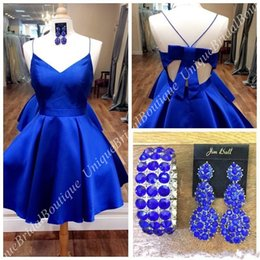 Wholesale Cuffs Pink - 2018 Cheap Homecoming Dresses with Free Cuffs Sexy Back & Bow Real Photos Royal Blue Short Prom Dress Hunter Fuchsia Satin Custom Made