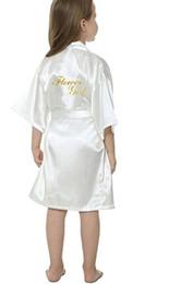 Robes de kimono en soie enfants en Ligne-Nouveau solide filles tache soie robes fleur fille kimono robes de mariage bref peignoirs pyjamas enfants robe + ceinture de nuit vente chaude
