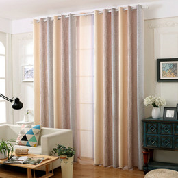 sheer pocket Coupons - Rustic Cotton Linen Blackout Curtain Water Wave Pattern Gradient Romantic Drapes Sheer for Living Room Bedroom Window Treatment