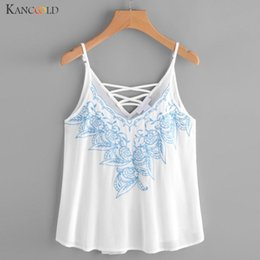Wholesale Embroidered Sleeveless Shirt Woman - Fashion Women's Vest Shirt Comfortable Camis Embroidered Tops Girls Summer Causal Blouse Sleeveless V-Collar Tank Maay26