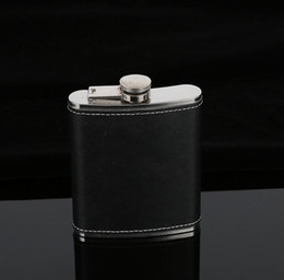 Wholesale black leather gear - Hip Flask Stainless Steel Flagon Wine Pot Outdoor Portable PU Leather Cover Hip Flasks water Bottle Hydration Gear GGA663 40PCS