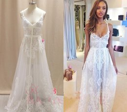 Wholesale Elie Saab Graduation Dresses - Sexy Full Lace Elie Saab Evening Dresses Spaghetti Open Back Modest Prom Part Gown Maternity See Through Formal Wear Plus Size hhhsky