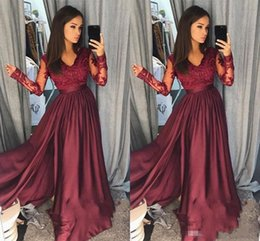 f48fba9cb0a43 formal beaded sequin tops plus size 2019 - 2018 Simple Burgundy Evening  Dresses V Neck Lace
