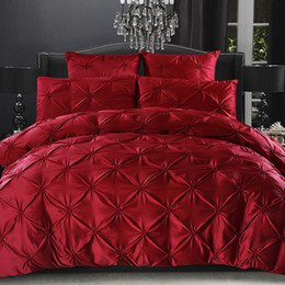 ruffle duvet set Coupons - European Solid Bedding Set Ruffle Duvet Cover Red Black White Brown Grey Blue Color Twin Full Queen King Size Bedclothes 3pcs New
