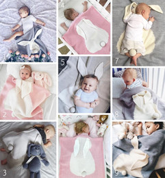 Wholesale Blue Bunny Ears - INS Baby bunny blankets infant stereo rabbit ears swaddling knitted bedding 5 colors 70*108cm babies cartoon swaddle R2833