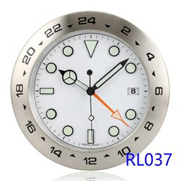 Wholesale Silent Wall Clocks - Super Silent Wall Clock Luxury Brand Exp II GMT Look rlx Metal Wall Watch with Date & Illumination 24 Hours Display