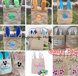 Wholesale Jute Handbags - 12styles jute Cotton Linen Easter Bunny Ears Burlap Basket Bag For Easter Gift Packing Easter Handbag For Child Festival Gift 255*305*100mm