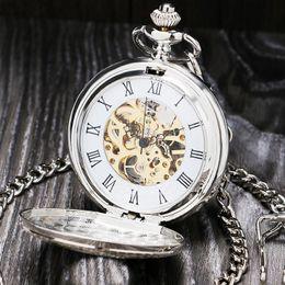 Orologio di apertura online-Numero d'argento romana Vigilanza di tasca meccanica aperto del doppio cassa dell'orologio fob P803C