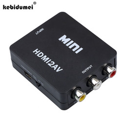 Wholesale Video Converter Ntsc - Wholesale-2017 Mini HDMI2AV Video Converter BOX HDMI To RCA AV CVBS Adapter Support HD 1080P NTSC PAL For PC PS3 VCR DVD PAL MTSC