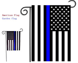 Wholesale police supplies - 30*45cm BlueLine USA Police Flags party decoration Thin Blue Line USA Flag Black, White And Blue American Flag Garden flag 200pcs MK236