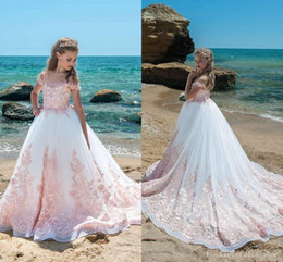 Wholesale Teen Models - 2018 New Lace Girls Pageant With Blush Pink Appliques A Line Sheer Neck Sweep Train Flower Girls Teens Birthday Party Communion Gowns Cheap