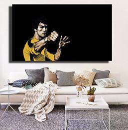 famosi dipinti floreali Sconti Arti marziali della Cina Stars Li Poster HD For Living Room Wall World Famous Movie Star Dipinti su tela Pop Art Canvas
