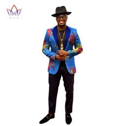 2019 costume skinny beige clair 2018 Africain Veste Pour Hommes Africain À Manches Longues Haut Hommes Vêtements Dashiki Imprimer Blazer Hommes Tenues WYN202
