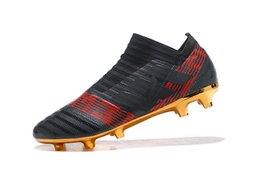 Wholesale Original Leather Soccer Boots - 2018 Original Soccer Cleats Nemeziz 17 360 Agility FG Mens Soccer Shoes Cheap Leather Football Boots Low Top Scarpe Da Calcio Golden New