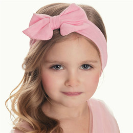 Wholesale Infant Girl Headwraps - baby big bowknot headbands for girls hair bows solid cotton kids hair accessories boutique infant hairbands soft headwraps wholesale B11