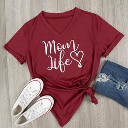2018 Mode Femmes V-Neck Plus La Taille T Shirt 4 Couleurs Lettre Imprimé Mom Life Été Casual Tops À Manches Courtes T Shirt S-3XL ? partir de fabricateur