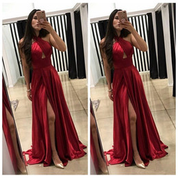 2019 низкая блестка русалка низ спины Холтер темно-красный A-Line платья выпускного вечера 2018 Дешевые вечерние платья с разрезом Vestidos De Fiesta Party Wear
