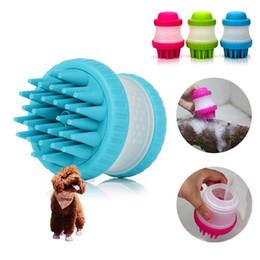 Wholesale bath tables - Pet cat and dog general Bath brush Massage products Shampoo dilute bottle Silica gel brush Bath comb DDA346