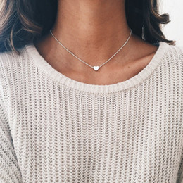 neck chains for women Promo Codes - Simple Heart Pendant Chain Necklaces For Women Gold Silver Color Short Neck Choker Necklace Fashion Jewelry