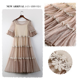 c555f2a10544 Sweet Dot Lace Women Two Piece dresses Summer Lace Fairy Dress Loose Casual  Mori Girl Vintage Boho Clothing Lady Vestido 17005