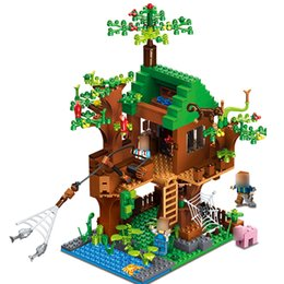 figures d'animaux de la forêt Promotion Forêt Modèle Jungle Tree House Avec Filet De Pêche Singe Mignon Animaux 443 pcs Compatible NEGO Action Figure Building Blocks Briques Jouets Cadeau