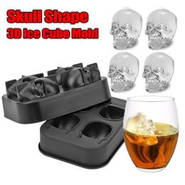 2019 ollas de juguete de metal 4 Cuadrícula Cabeza de calavera 3D Molde del cubo de hielo Forma de cráneo de Halloween Whisky Vino Cubito Bandeja Hacer molde de chocolate Bar Suministros para fiestas