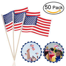 Wholesale american stick flags - 50pcs US Hand Held Stick Flags On Wood Stick Polyester USA American Flag US United States Stars Stripes For Independence Day
