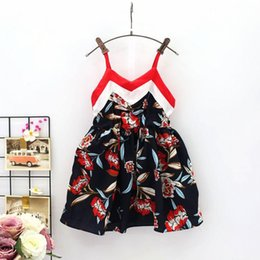 Wholesale White Beach Balls Wholesale - Girls Flora Vest Dresses Red White Striped Big Flower Printed Suspender Beach Skirt Summer Party Outfits 1-4T