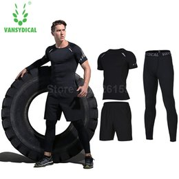 Wholesale Tight Shirts Sport For Men - Wholesale-Vansydical Mens Sports Suits Basketball Jersey For Men 3pcs Compression Running Suits Gym Fitness T Shirt Tights Sports Sets Man