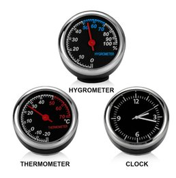 Wholesale Doll Watches - New Mini Car Automobile Digital Clock Auto Watch Automotive Thermometer Hygrometer Decoration Ornament Clock In Car Accessories