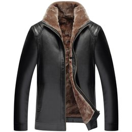 Wholesale Xxs Leather - New Mens Pu Leather Fur Lined Collar Winter Jacket Man Casual Sheep skin Warm Outdoor Waterproof Zipper Coat thickening Outwear
