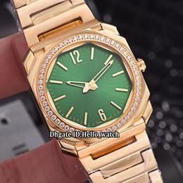 c4446145d44d New Octo Solotempo 102702 Green Dial Swiss Quartz Womens Watch Diamond  Bezel 18K Yellow Gold Steel Bracelet Sapphire Fashion Lady Watches