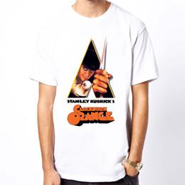 Camiseta branca laranja on-line-New A Clockwork cor Laranja stanley kubrick filme homens branco t-shirt jurney Impressão t-shirt Legal xxxtentacion tshirt