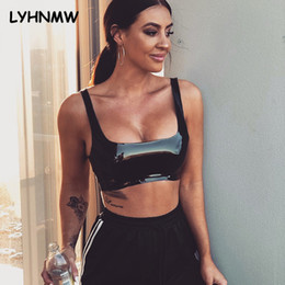f40abb7491e LYHNMW Sexy Faux Leather Crop Tops 2018 Summer Women Black Shiny PU  Sleeveless Bralette Tank Top Party Slim Backless Short Tops