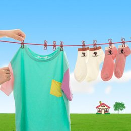 Wholesale Fold Clips - Multi Color Portable Clothesline With Clips Multifunctional Drying Cloth Hangers Clothes Line Pegs Clothespins Hot Sale NNA205