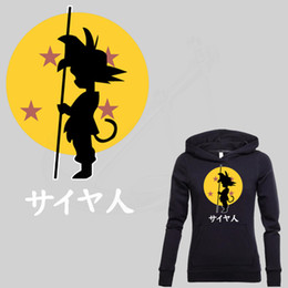 Wholesale Sweater Anime - Japan popular anime DRAGON BALL Son Goku stickers Iron on patches T-shirt Sweater thermal transfer paper Patch for clothing