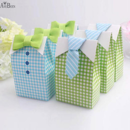 Wholesale Baby Shower Favors Box - 50 pcs My Little Man Blue Bow Green Tie Birthday First Communion Boy Baby Shower Candy Bag Wedding Favors Candy Box Gift Bags