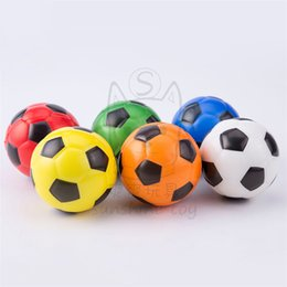 Wholesale sponge rubber balls - 6.3cm Hand Wrist Exercise PU Rubber Toy Balls Color Football Print Sponge Foam Ball Squeeze Stress Ball Relief Toy Kids Toys LA701