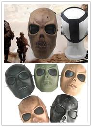 2019 máscara de paintball del ejército hombres del Ejército de Malla Cara Completa Máscara Skull Skeleton Airsoft Paintball BB Gun Juego Proteger Máscara de Seguridad G309 máscara de paintball del ejército baratos