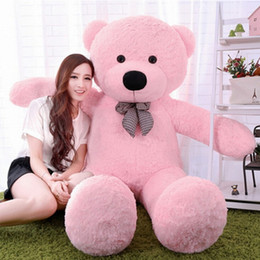 "Wholesale Pink Stuffed Teddy Bears - New arrival 6.3 FEET TEDDY BEAR STUFFED LIGHT BROWN GIANT JUMBO 72"" 160cm birthday gift purple 5 colour choose free shipping OTH749"