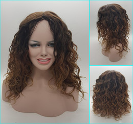 Like human hair Curly Blonde Wig Dark Roots Ombre Wig for Black White Women High Heat Fiber Pelucas Sinteticas Rubias Perruque Perucas