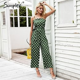 e562aa6da8cf Simplee Spaghetti strap polka dot vintage jumpsuit women Sash high waist casual  jumpsuit Wide leg summer jumpsuit plus size 2018 Y1891807