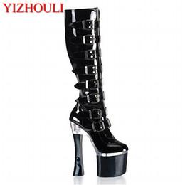 2019 zapatos de tacones de sexo Botas de tacón alto para mujer de tacón alto de piel suave, atractivo sexual negro, zapato de baile de tacón alto para mujer nuevo y grueso 18 centímetros rebajas zapatos de tacones de sexo