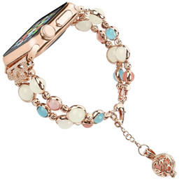 Argentina Único hecho a mano Apple Watch Band Mujer Perla Luminosa Ajustable iWatch Pulsera Enlace de metal Pulsera para Apple Series 1 2 3 4 supplier pearl band watch Suministro
