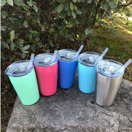 Wholesale Double Wall Coffee Glasses - 12oz Vacuum Insulated mug Double Wall Stainless Steel Wine Glass with Lid with Straw Kid Cup Coffee Mugs Kitchen cup KKA4334