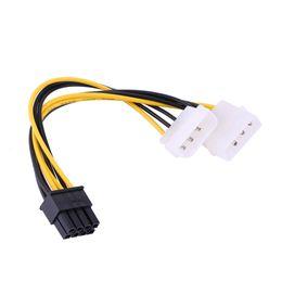 Cables expresos pci online-Adaptador PCI Express 4PINx2 A PCI-E 8PIN Adaptador de cable de alimentación IDE macho a doble LP4 de 16 cm