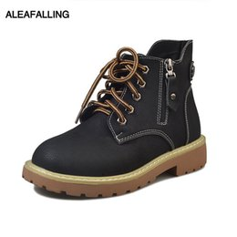 Argentina Aleafalling Women Boots Snow Winter Boots Lace Up Hebilla Zip Leather Lady Shoes Sólidos zapatos de fiesta al aire libre de la muchacha AWBT180 supplier zip up snow boots Suministro