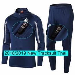 riscaldare gli uomini del vestito Sconti Tuta da allenamento Marseille Tuta da jogging da uomo 18 19 Nuova tuta da riscaldamento Tops Pants Set Kit da calcio
