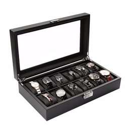 Wholesale carbon fiber storage boxes - 12 Slots Carbon Fiber Jewelry Display Watch Box case Storage Holder High-Grade Black Large caixa para relogio saat kutusu 2017