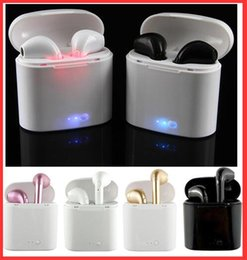 Wholesale Earphone Mic For Iphone - I7 I7S TWS Twins Bluetooth Earbuds Mini Wireless Earphones Headset with Mic Stereo V4.2 Headphones for Iphone Android with Package